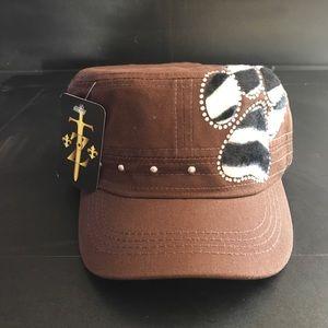 RHINESTONE BLING CLASSIC PAW CADET STYLE CAP